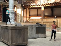 Brina Miller and Jazmine Huertas rehearse a scene at the Globe Theatre in London. Courtesy photo.