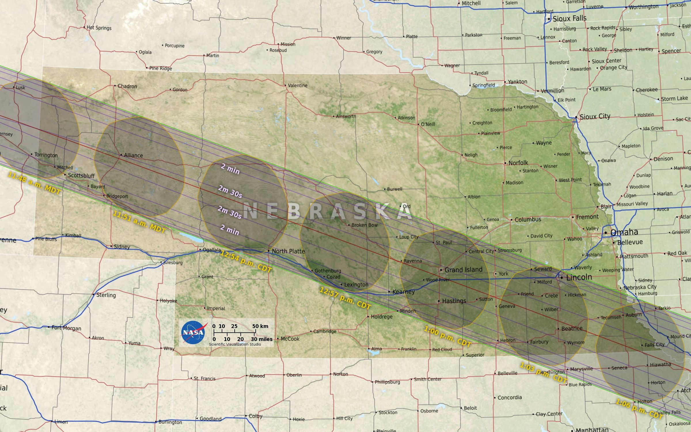 Path of the moon's shadow across Nebraska on August 21, 2017.  Image courtesy of NASA.