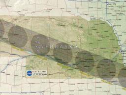 Path of the moon's shadow across Nebraska on August 21, 2017.  Image courtesy of NASA.