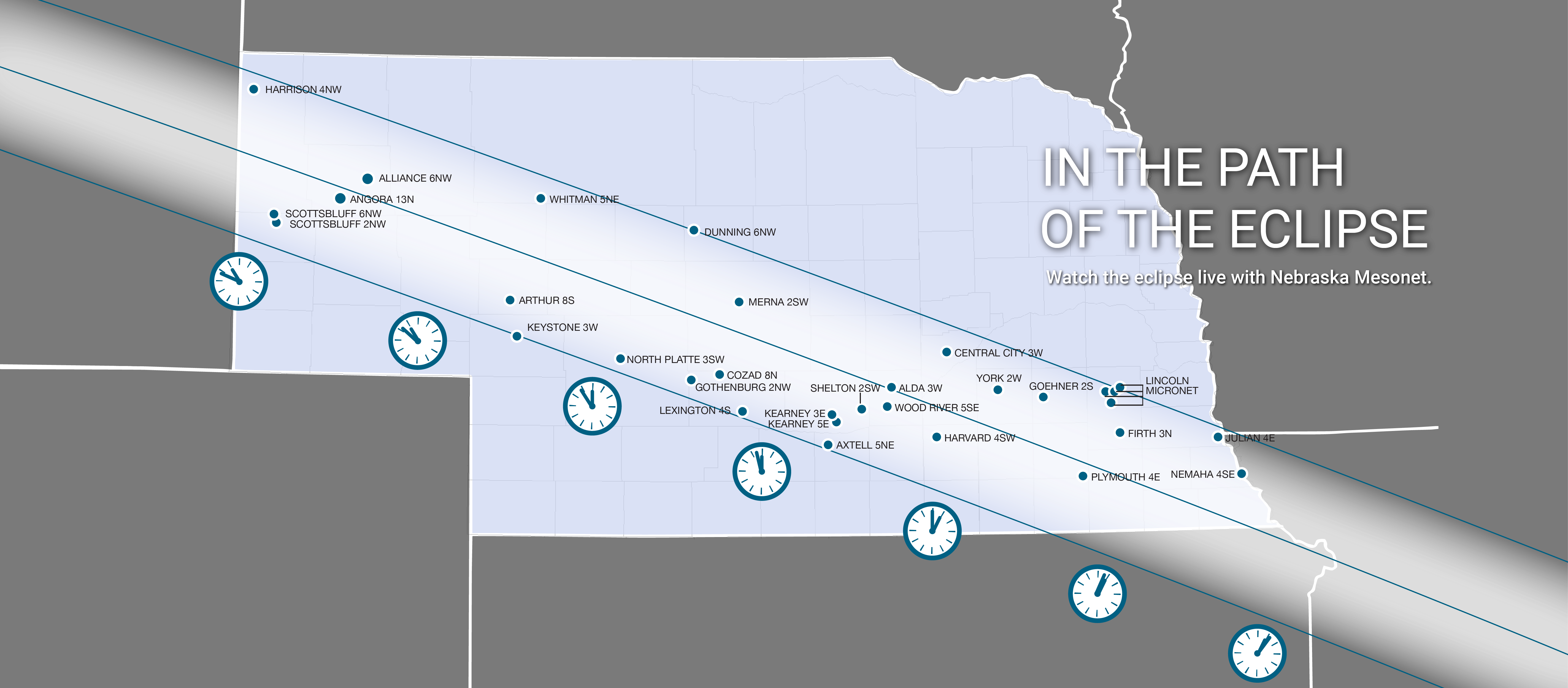 Thirty weather stations in Nebraska are within the path of total eclipse. | Graphic by Shawna Richter-Ryerson