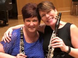 Hixson-Lied Professor of Clarinet Diane Barger (left) and Denise Gainey from the University of Alabama-Birmingham perform as the Amicitia Duo on Sept. 10.