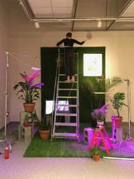 Spring 2017 Elgas Grant recipient Madeline Cass installing her work in the Eisentrager Howard Gallery