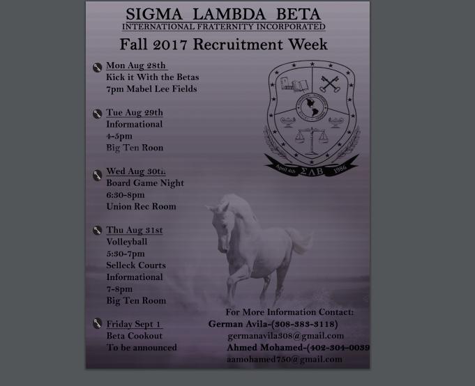 Sigma Lambda Beta Recruitment Week Flyer