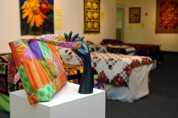 """Diane Ohlson's """"Tote Bag"""" is among the items on display in the UNL Employee Quilt Show. The exhibition was on display in the Nebraska Union's Rotunda Gallery, but opens today at the International Quilt Study Center and Museum."""