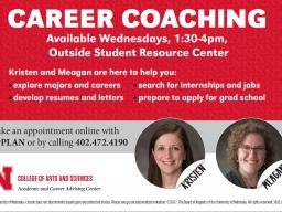 Career coaches Kristen Aldrich and Meagan Savage will be in Avery Hall every Wednesday to answer your career questions.