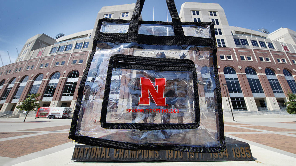 Husker football season-ticket holders received clear bags with their orders. | Craig Chandler, University Communication