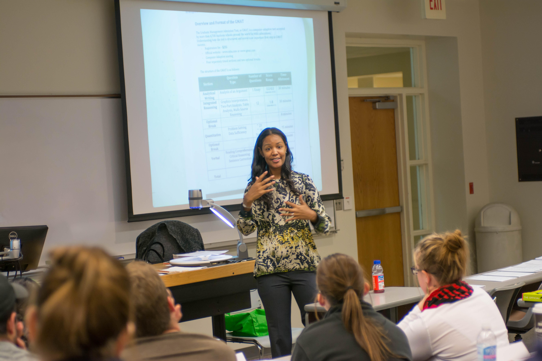 Espy teaches GMAT workshop at Nebraska.