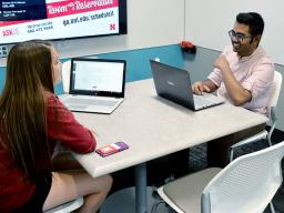 Student strengths coach Shivang Vaidya (right) leads a one-on-one coaching session.