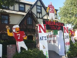 Lawn decorations are a traditional part of the homecoming competition for the Greek community.