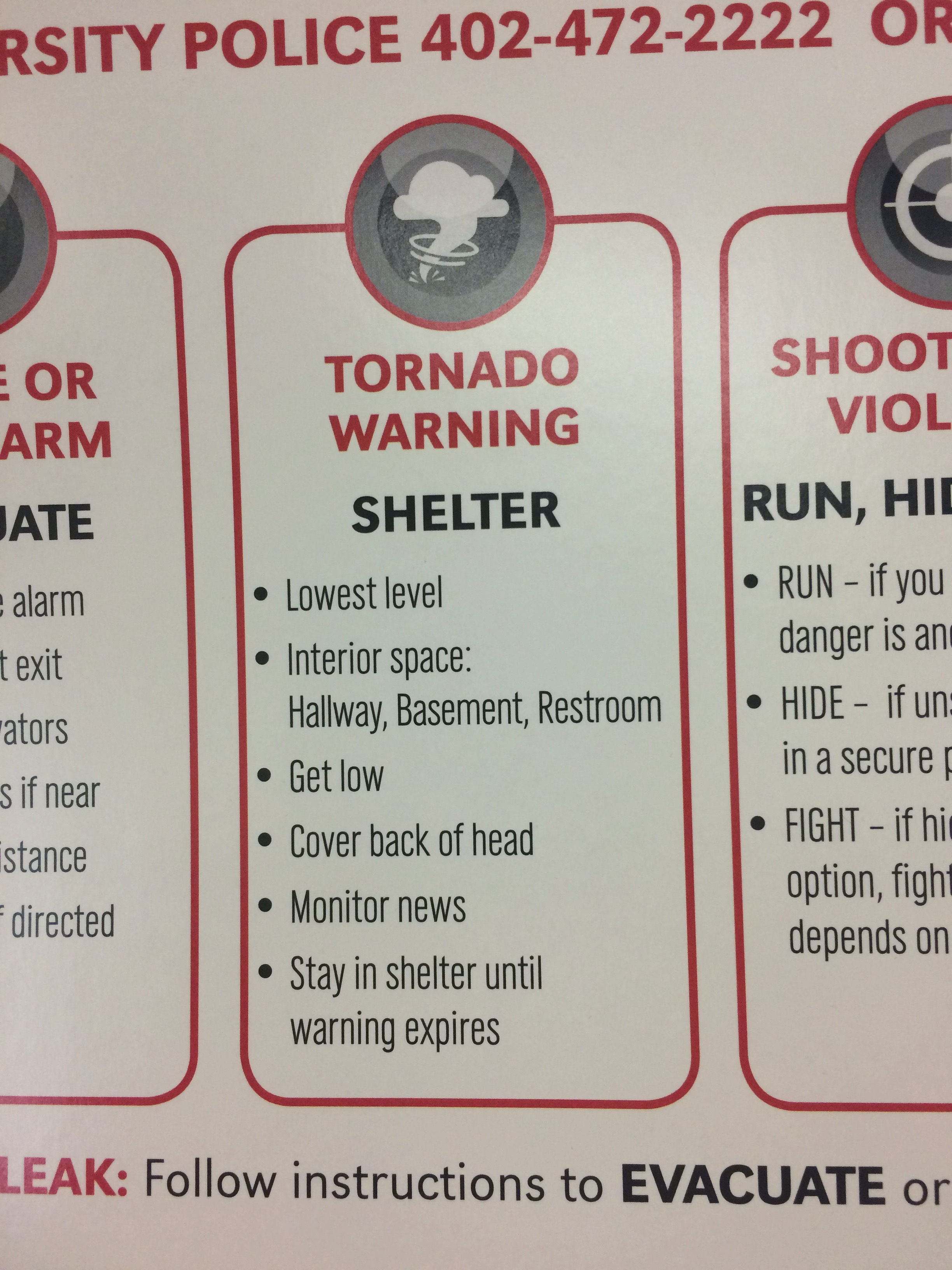 In the case of a tornado, know what to do. Learn more at http://emergency.unl.edu/procedure/tornado