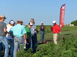 Amit Jhala speaks to a crowd of Weed Management Field Day participants June 28 at the University of Nebraska–Lincoln South Central Agricultural Laboratory near Clay Center, Nebraska.