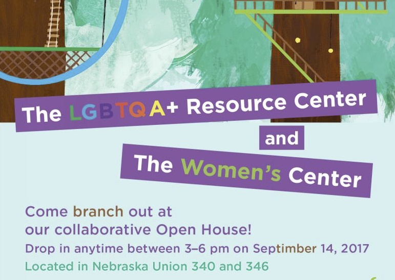 Stop by the third floor of the Nebraska Union to visit the LGBTQA+ Resource Center and the Women's Center.