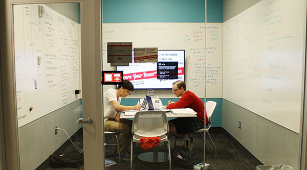 Students can reserve rooms for group work in the Love Library Learning Commons.