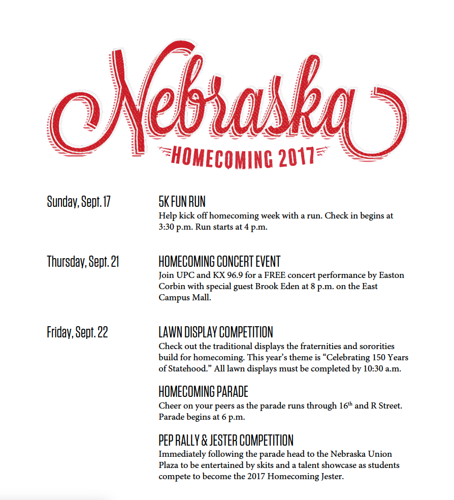 There are lots of activities during homecoming. Mark your calendar!