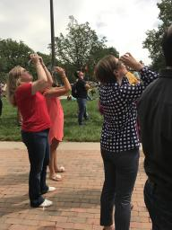 BSE professors view the eclipse.