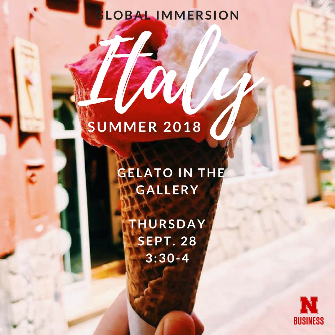Join us for gelato on Thursday, September 28.