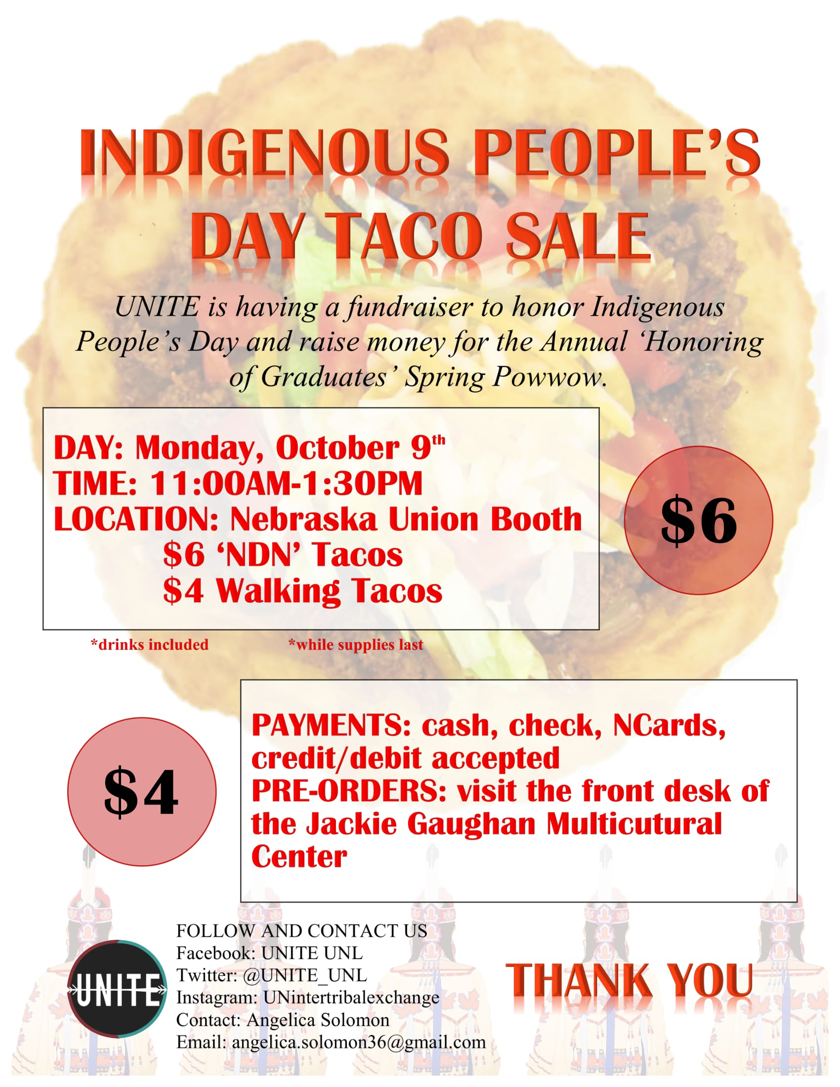 Indigenous People's Day Taco Sale flyer