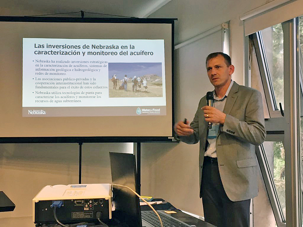 Jesse Korus delivers his presentation during a recent agriculture workshop with Argentina. | Courtesy image