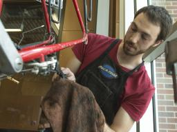 Student Paul Gebers works on a bicycle as an employee in the Outdoor Adventures Bike Shop.