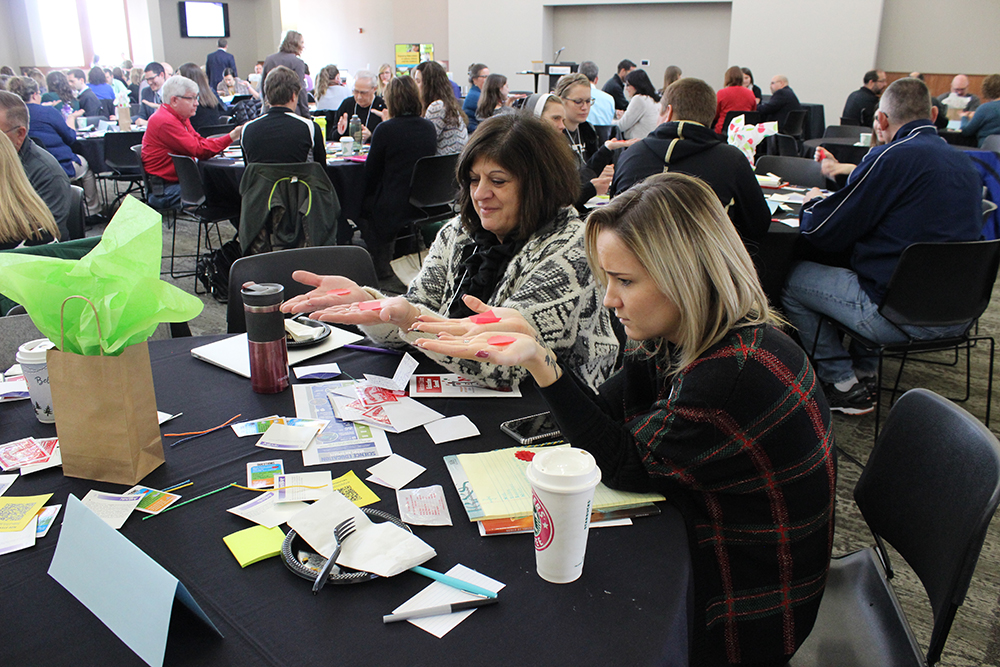 Teachers explore a lesson using the Next Generation Science Standards at the 2016 K-12 Science Education Summit. UNL CSMCE