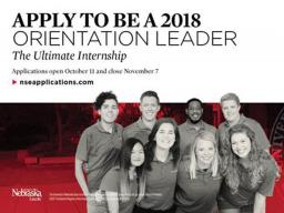 Orientation Leader applications are being accepted through Nov. 7.