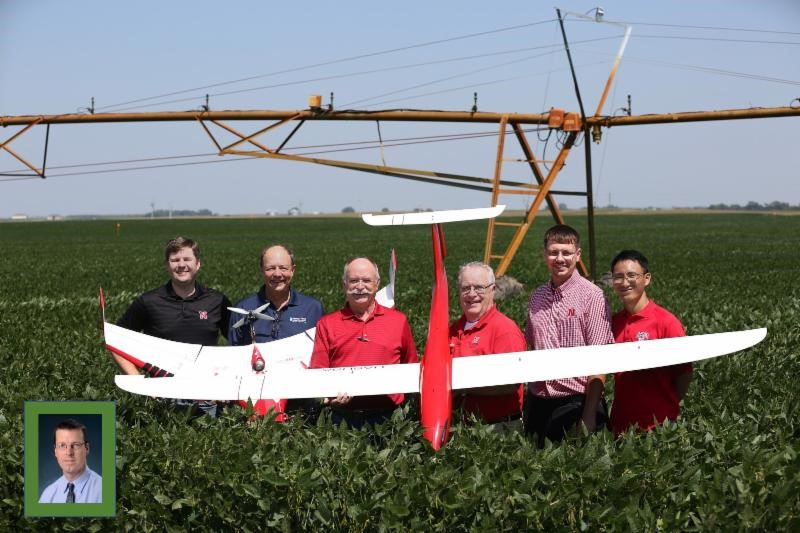 Unmanned Aircraft Research Team: (left to right) Joe Luck, Christopher Neale, Wayne Woldt, George Meyer, Derek Hereen, Yufeng Ge, (inset) Eric Frew. | Courtesy Water for Food Global Institute