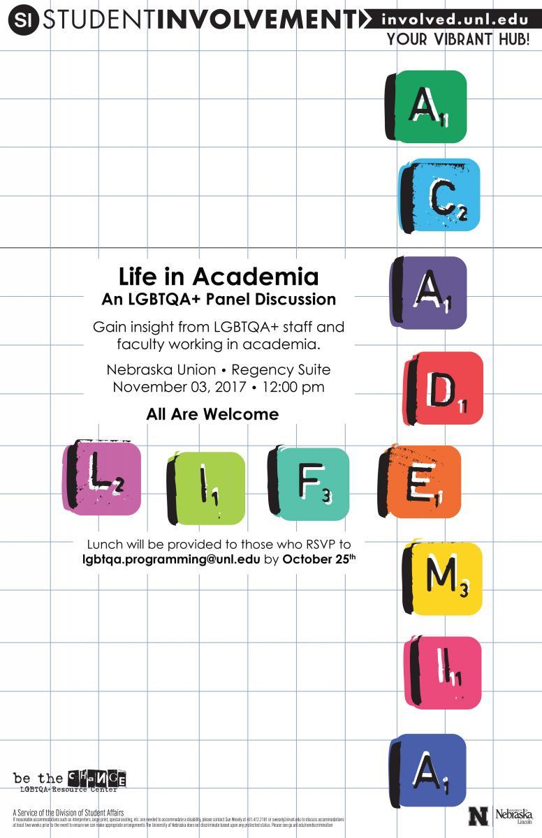 Life in Academia event flier