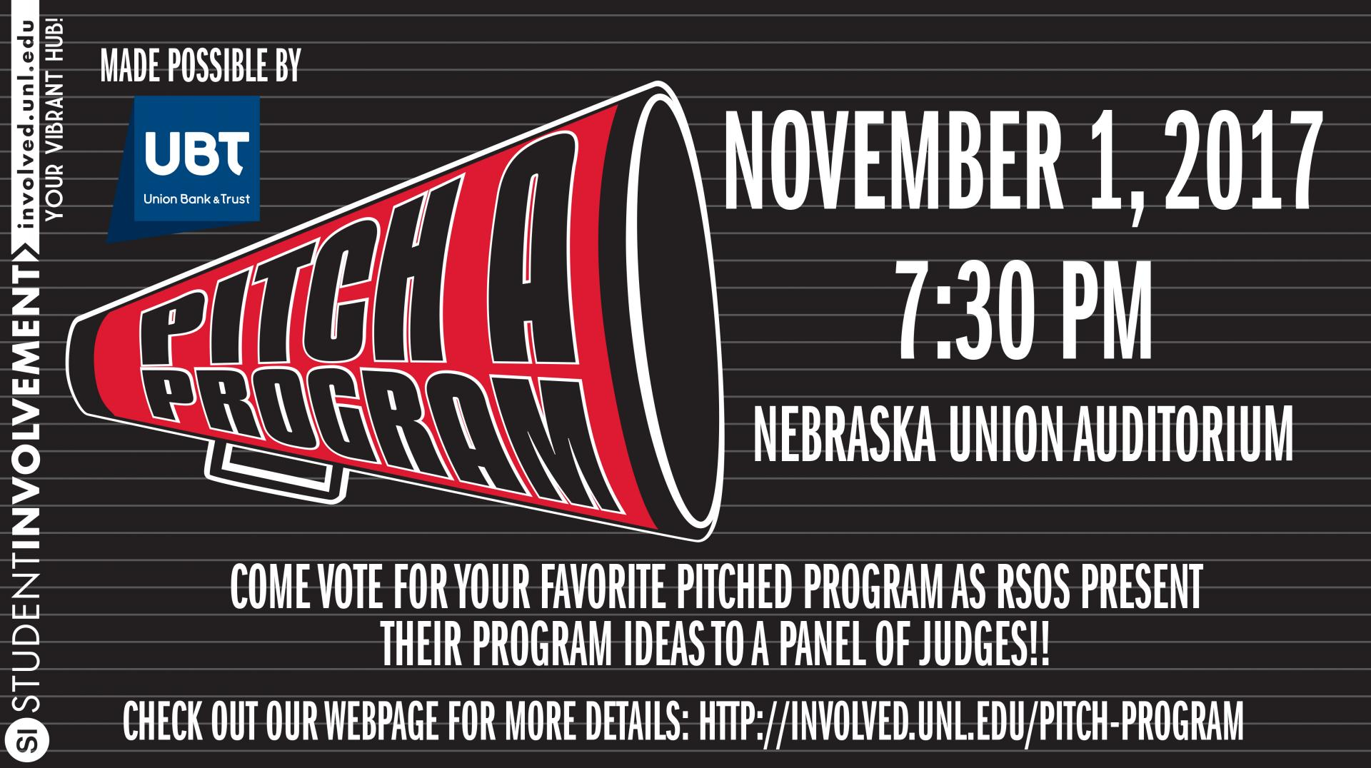 Come watch the Pitch-a-Program Finals