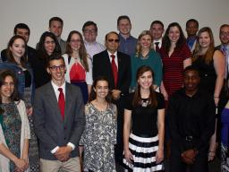 Students named to the 2017 Franco's List stand with the award's namesake, Juan Franco, vice chancellor for student affairs at Nebraska, on April 19.