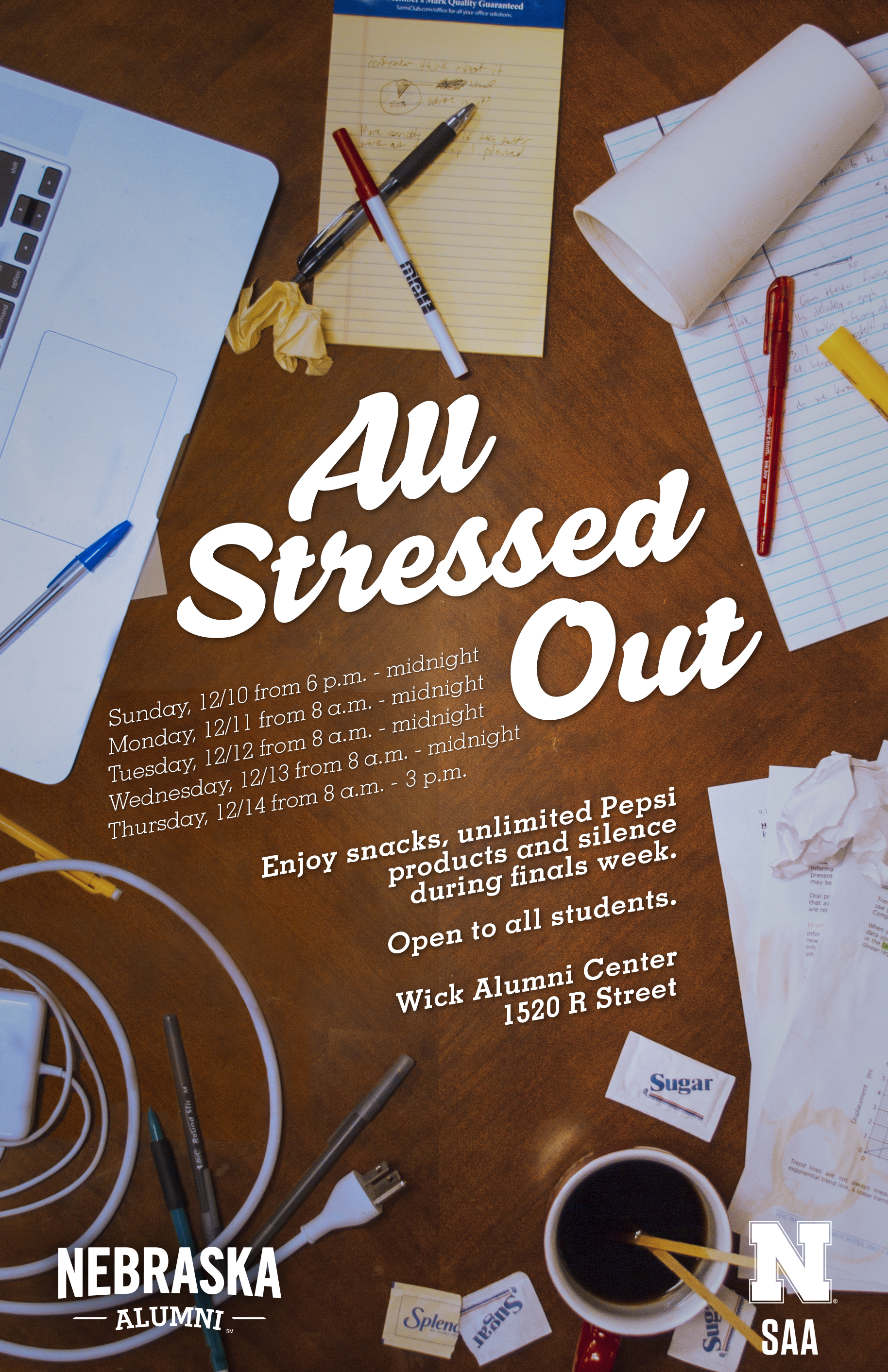 Looking for a quiet place to study? Join us for All Stressed Out this Dec. 10-14 at the Wick Alumni Center