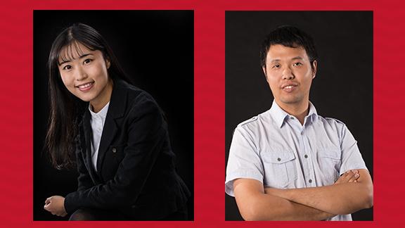 Wei Li (left) and Bingnan Mu.  AATCC Foundation Research Grant Receipients.