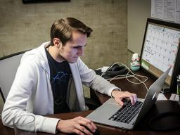 Jared Brosius, Live, Love, Discover CEO, works to perfect the new FindIt! AR app in his office at the Nonprofit Hub. (Credit/Jordan Snader)