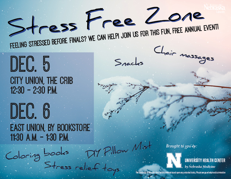 The Stress Free Zone is a great way to de-stress before finals.