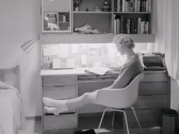 <em>University Archives</em>   A student sits at a Cather-Pound desk in this photo taken shortly after the residence hall complex opened in 1963. The halls will be razed on Dec. 22.