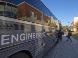 Riders get on the N-E Ride shuttle outside Othmer Hall on the morning of Nov. 16. The weekday shuttle, which started in 2014, is primarily used to connect Nebraska Engineering campuses in Lincoln and Omaha. | Troy Fedderson, University Communication