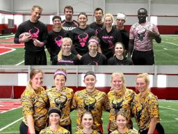 Regional flag football co-rec division winners, the 'Diablos,' and women's division winners, the 'Huskers.'