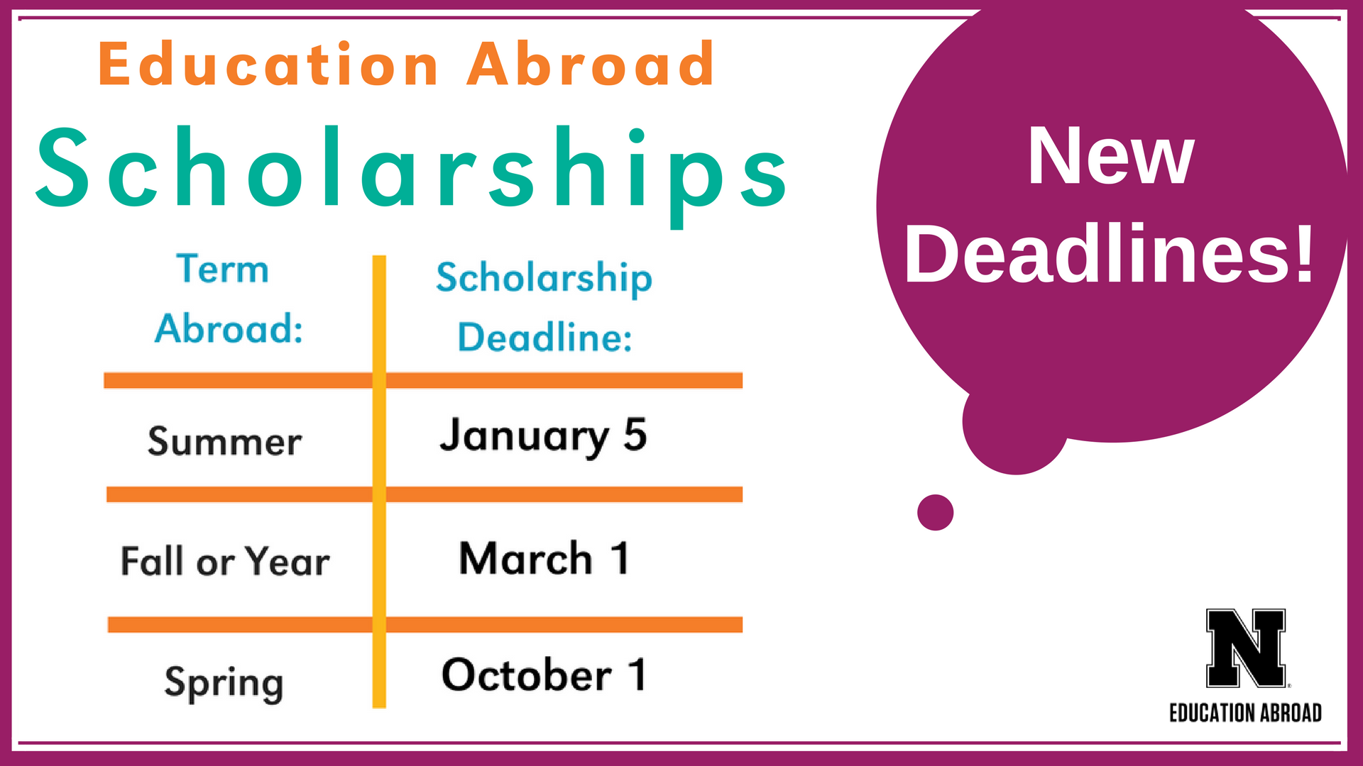 Education Abroad Scholarships New Deadlines This Year