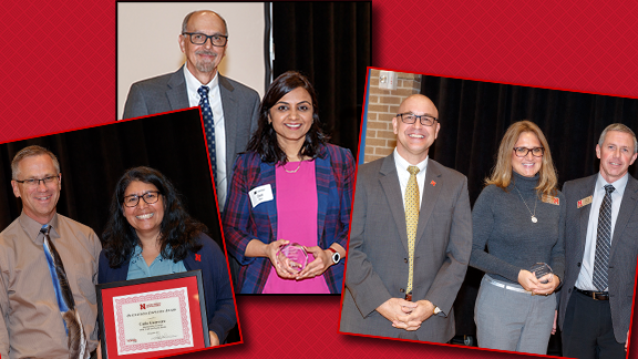 Left: CYAF Chair Rich Bischoff with Catia Guerrero; Center: IANR Associate Vice Chancellor Ron Yoder with Dipti Dev; and Right: Jean Ann Fischer with IANR Vice President and Vice Chancellor Mike Boehm and Dave Varner, assoc. dean and assoc. director of ex
