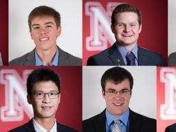 From left to right, top to bottow - Brad Bailey, Austin Miller, Drew Van Ert, Jake Frodyma, Michael Keogh, Yujie Gao, Zach Davis, and Reed Becker