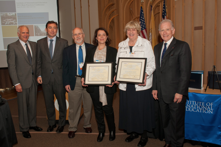 The 2011 Andrew Heiskell Award was presented earlier this year. NU officials who accepted the award were Thomas Farrell (far left), Thomas McGowan (third from left), and Harriet Turner (second from right).
