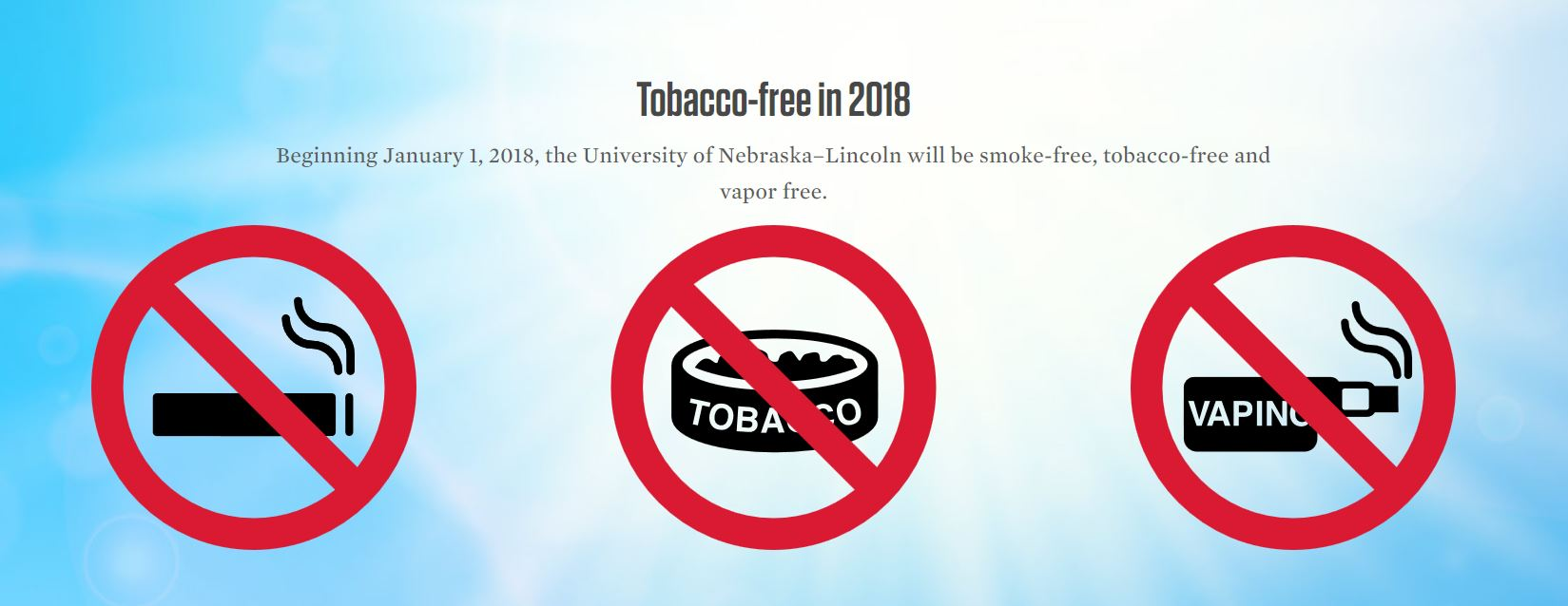 The university will go tobacco free on Jan. 1, 2018. | Courtesy image
