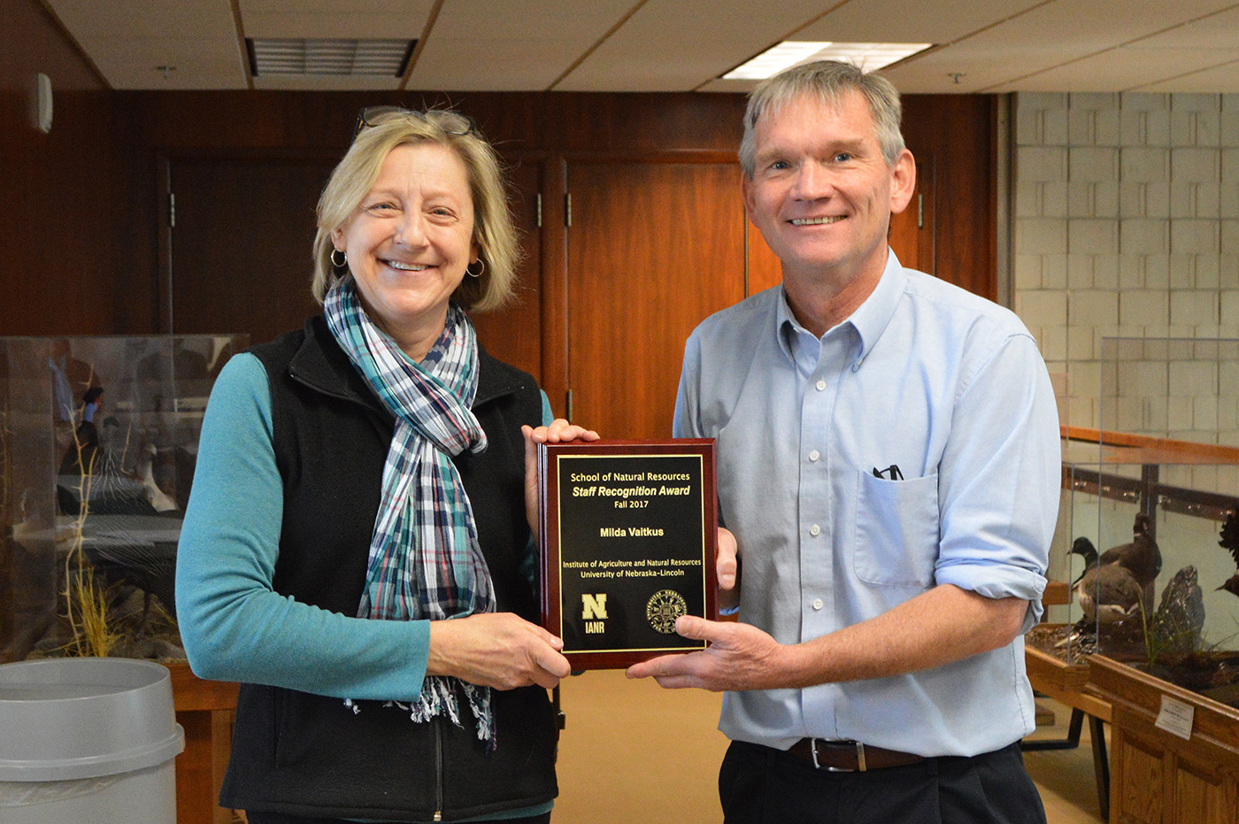 Milda Vaitkus, project manager for the Center for Advanced Land Management Information Technologies at the School of Natural Resources, earned the fall 2017 SNR Staff Recognition Award.