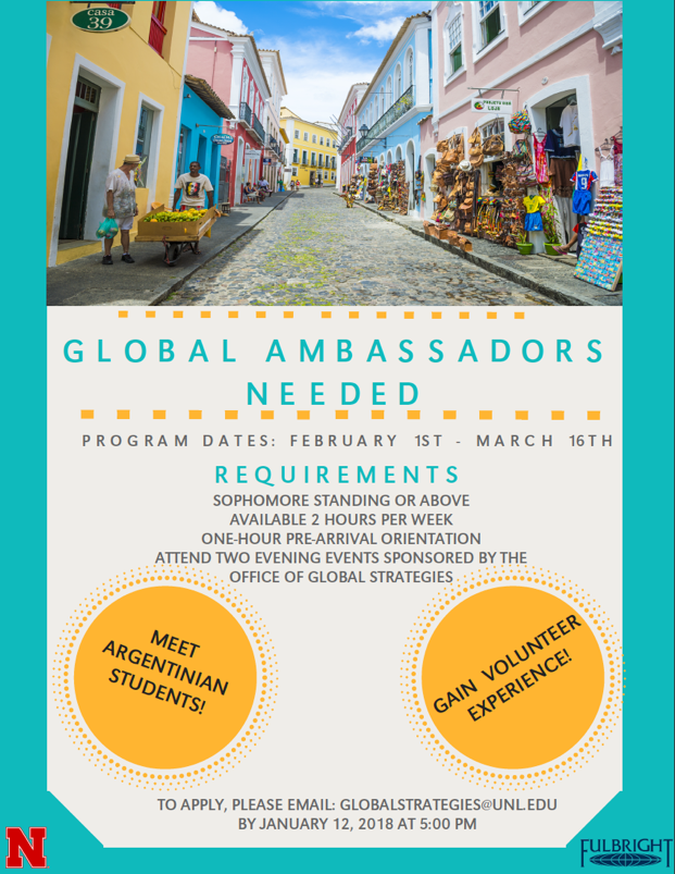 Global Ambassadors needed to host Argentine students.