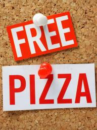 Free pizza is available at the event while supplies last.