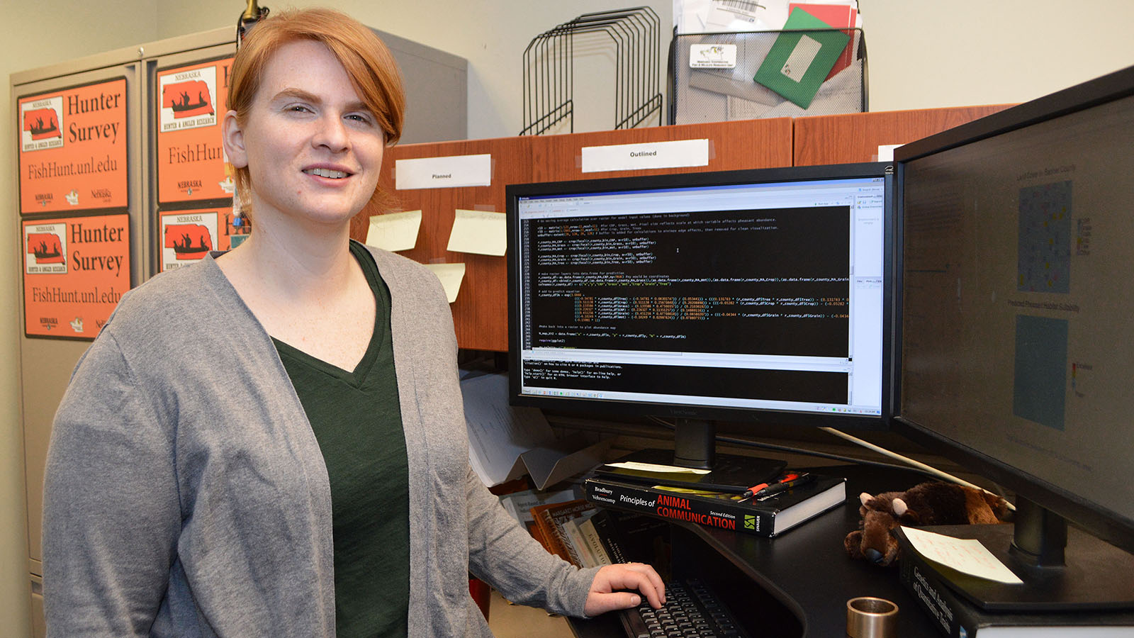 Lyndsie Wszola, a research associate with the COOP Unit, wrote an open-source code app that ties pheasants to Nebraska land cover. | Shawna Richter-Ryerson, Natural Resources
