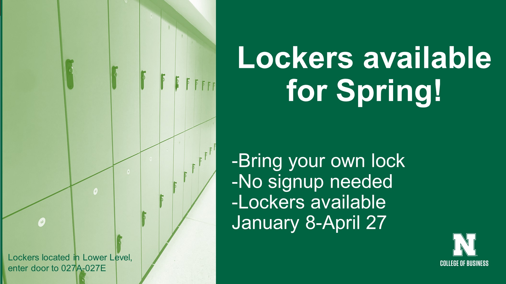 Lockers Available For Spring Semester Announce