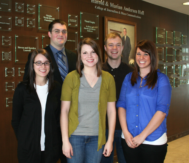 First-year members of the Nebraska News Service are (from left) Paige Yowell, Steven Cain, Emily Nohr, Steve Scharf and Krista Vogel.