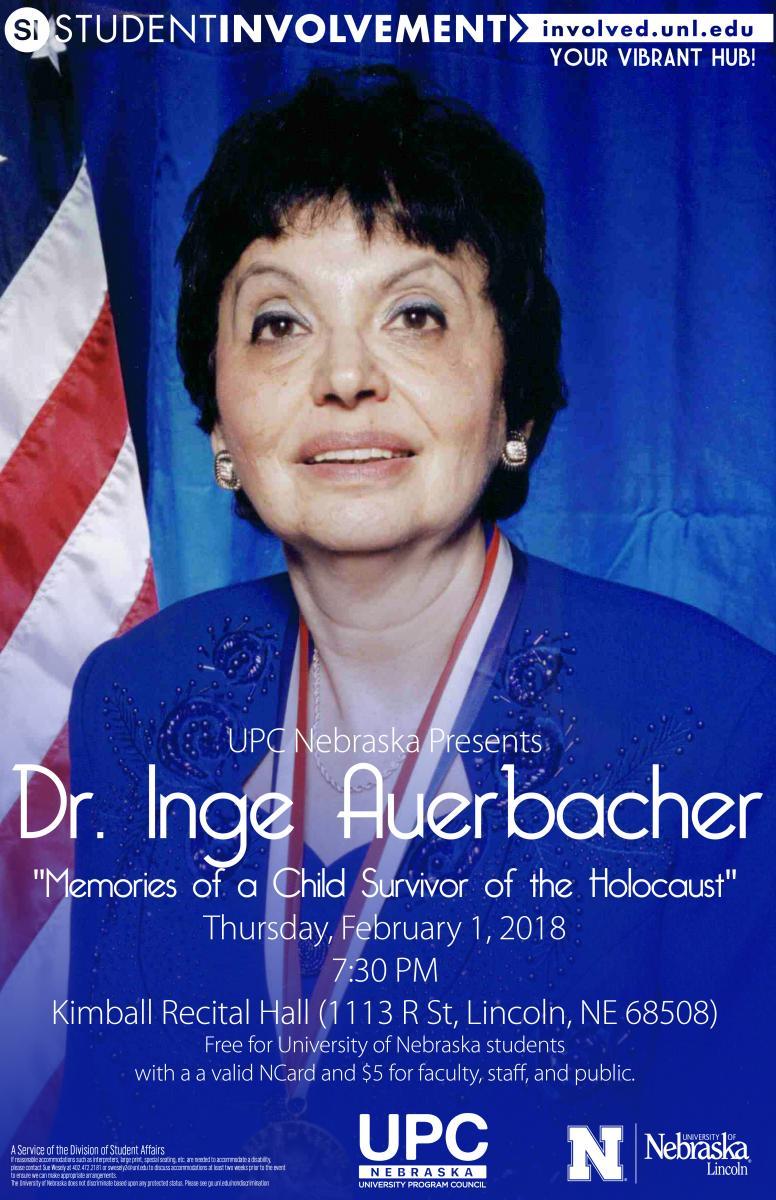 Dr. Inge Auerbacher event flier