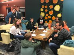 CSE students talk with Firespring CTO Jason Wilkinson at Firespring's State of the Practice event in November.