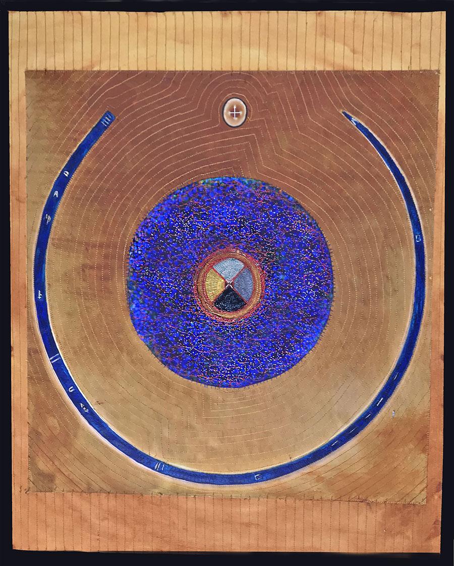 """Portal 1"", 2017; 30"" x 22"", cotton canvas dye pigment thread."